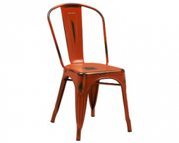 Pure Orange Antique Weathered Finish Tolix Chair