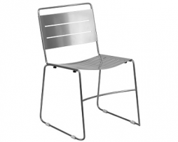 Silver Ergonomic Laser Cut Stacking Cafe Chair