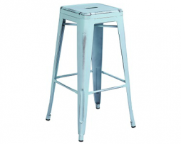ANTIQUE SKY BLUE WEATHERED FINISH TOLIX BAR STOOL