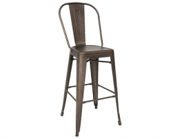 Antique Custom Taupe Finish Highback Tolix Bar Stool