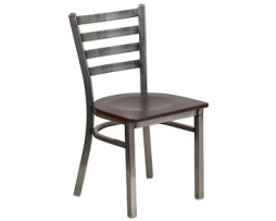 Bettina Medium Gun Metal Side Chair Dark Wood Seat