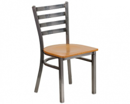 Bettina Medium Gun Metal Side Chair Natural Wood Seat