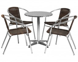 Brown Walnut Rattan Chairs With Stainless Steel Top Set In-Outdoor 3