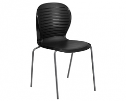 Contemporary Black Rib Back Plastic Metal Frame Chair