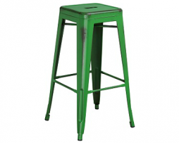 Dark Green Weathered Tolix Bar Stool