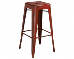 Dark Tractor Red Weathered Tolix Bar Stool