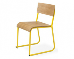 Eloisa Natural Oak Bent Ply Yellow Metal Tube Frame Chair