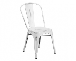 New White Weathered Finish Tolix Chair 33