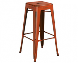 Pure Orange Antique Weathered Finish Tolix Bar Stool