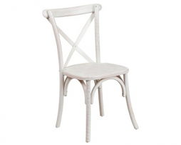 Vintage White Washed Cross Back Beechwood Chair