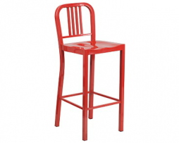 KAli Red Industrial Low Back Bar Stool